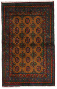 Afghan Matta 103X162 Äkta Orientalisk Handknuten Svart/Mörkbrun (Ull, Afghanistan)