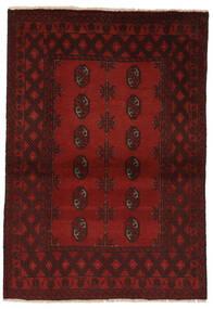 Afghan Matta 97X146 Äkta Orientalisk Handknuten Svart/Mörkröd (Ull, Afghanistan)