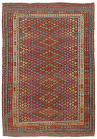Kelim Afghan Old Style Matta 215X304 Äkta Orientalisk Handvävd Mörkbrun/Mörkgrön (Ull, Afghanistan)