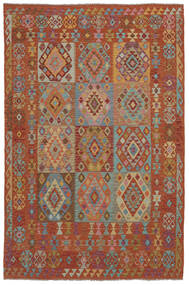 Kelim Afghan Old Style Matta 202X302 Äkta Orientalisk Handvävd Mörkbrun (Ull, Afghanistan)