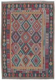 Kelim Afghan Old Style Matta 200X300 Äkta Orientalisk Handvävd Mörkbrun/Svart (Ull, Afghanistan)