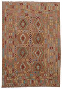 Kelim Afghan Old Style Matta 211X298 Äkta Orientalisk Handvävd Mörkbrun (Ull, Afghanistan)