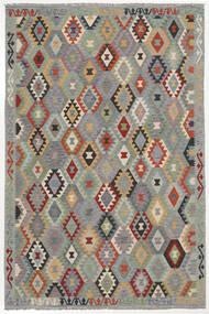 Kelim Afghan Old Style Matta 198X293 Äkta Orientalisk Handvävd Mörkgrå/Svart (Ull, Afghanistan)