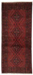 Afghan Khal Mohammadi Matta 84X194 Äkta Orientalisk Handknuten Hallmatta Svart/Beige (Ull, Afghanistan)