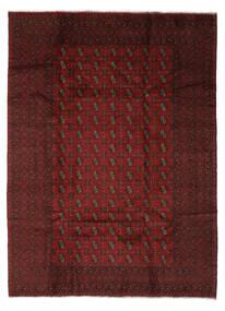 Afghan Matta 204X280 Äkta Orientalisk Handknuten Svart/Beige (Ull, Afghanistan)