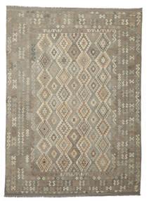 Kelim Afghan Old Style Matta 248X344 Äkta Orientalisk Handvävd Mörkbrun/Mörkgrå (Ull, Afghanistan)