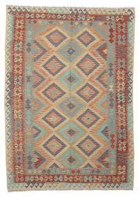 Kelim Afghan Old Style Matta 172X242 Äkta Orientalisk Handvävd Mörkbrun/Brun (Ull, Afghanistan)