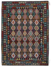 Kelim Afghan Old Style Matta 258X350 Äkta Orientalisk Handvävd Svart/Mörkbrun Stor (Ull, Afghanistan)